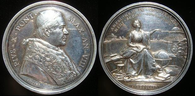 Pius X (1903-14) Anno VIII Silver Medal Photo