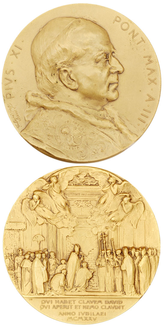 Pius XI 1925 Holy Year Medal 67mm Photo