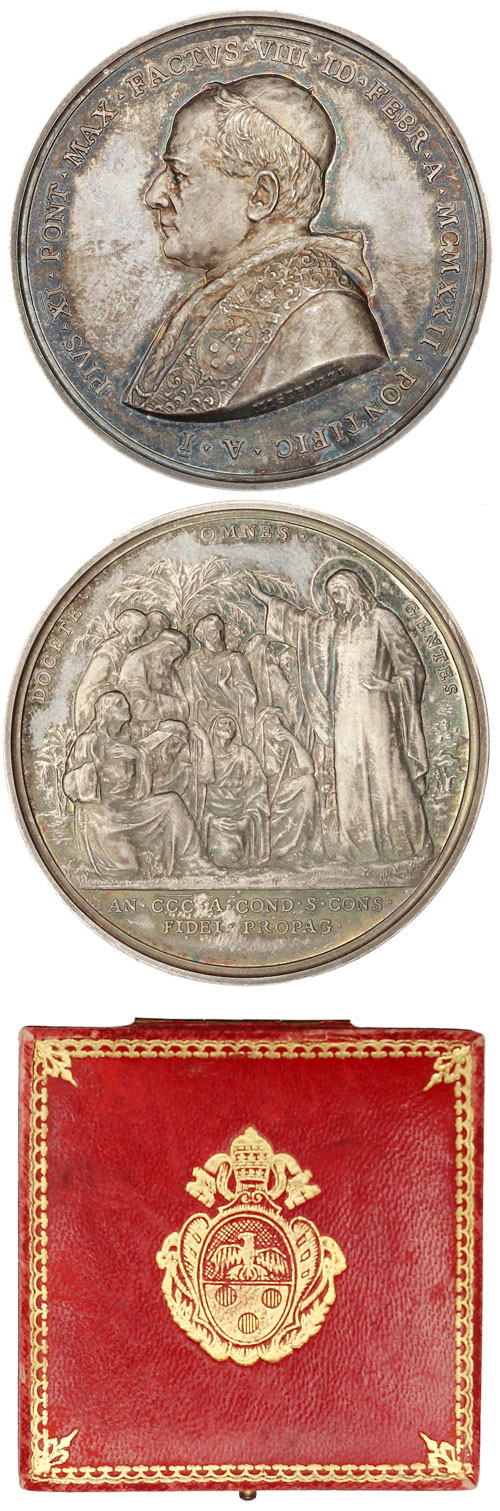 Pius XI 1922 Anno I Election Silver Medal Photo