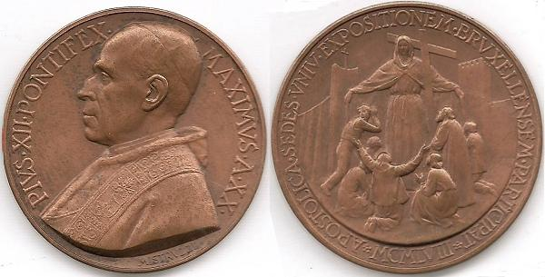 Pius XII (1939-58) Anno XX Bronze Photo