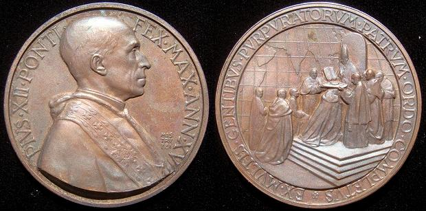 Pius XII (1939-58) Anno XV Bronze Medal Photo