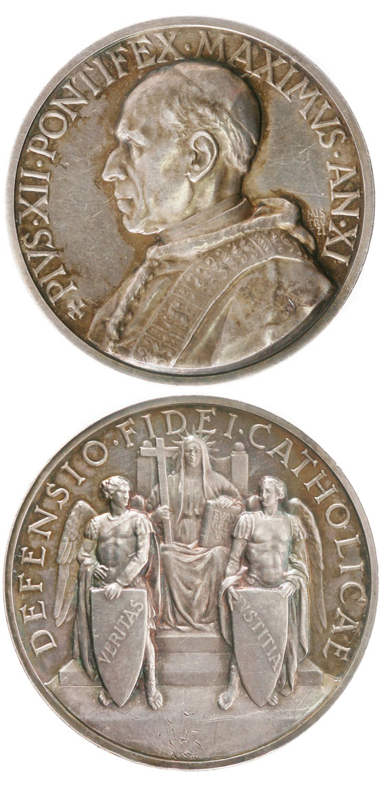 Pius XII (1939-58) Anno XI Silver Medal Photo