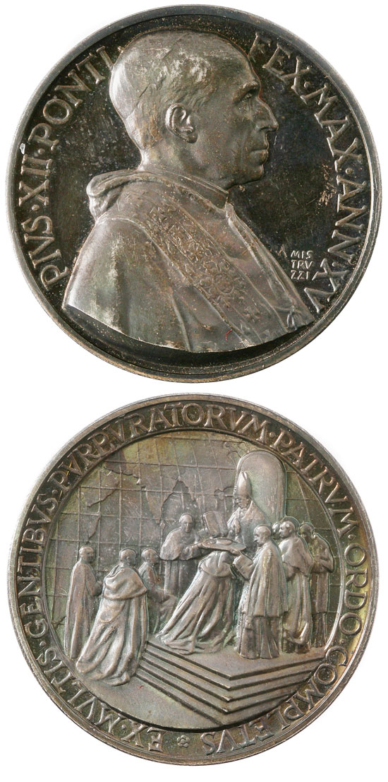 Pius XII (1939-58) Anno XV Silver Medal Photo