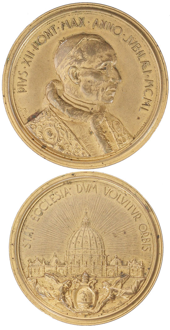 Pius XII 1950 Emilio Monti Medal 60mm Photo