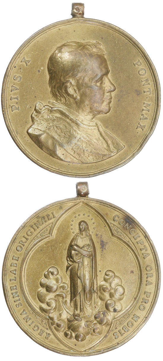 Pius X 1904 Queen Without Original Sin Medal Photo