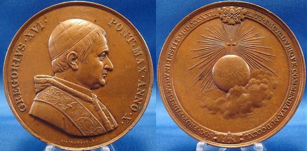 Gregory XVI (1831-46) Anno X Bronze 51mm Ch.AU Photo