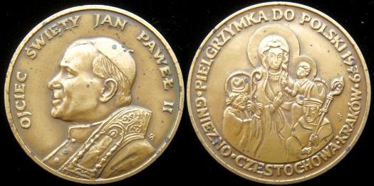 John Paul II 1979 Trip to Poland Bronze Medal Photo