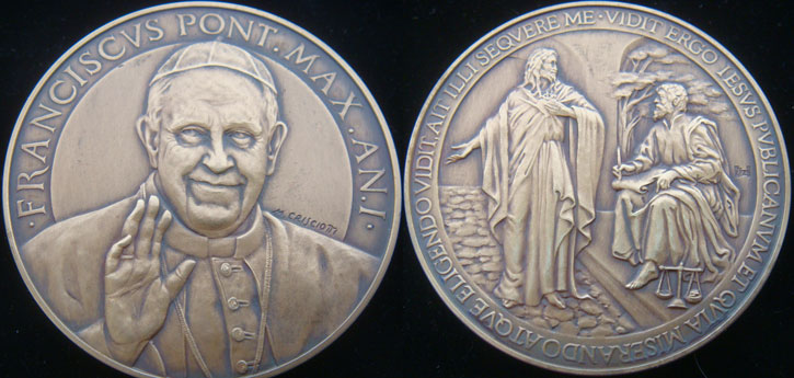 Pope Francis Anno I Bronze Medal Photo