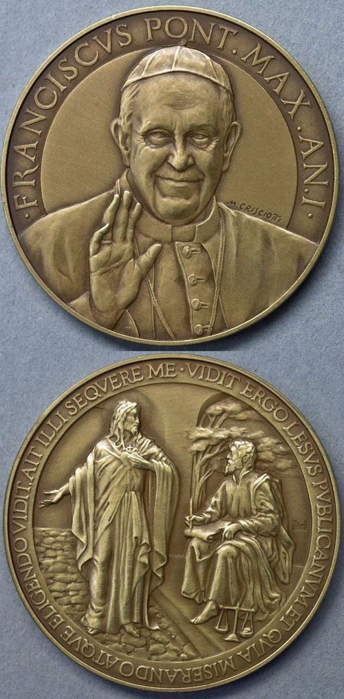 Pope Francis Anno I Bronze Error Medal Photo