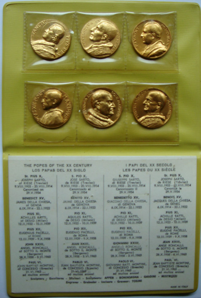 Popes of the 20th Century - 6 Medal Set Photo