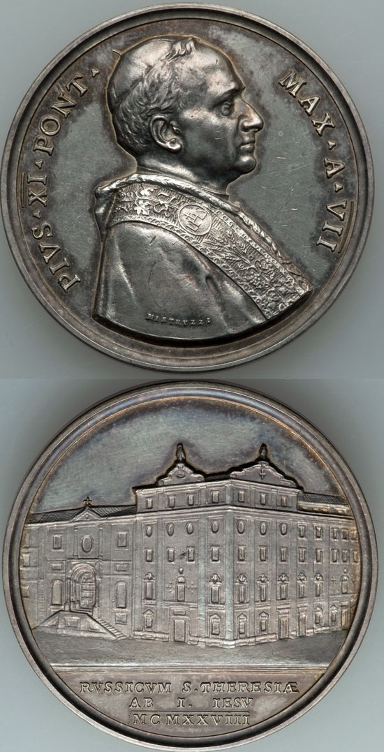 Pius XI 1928 Russian College Silver Medal Photo
