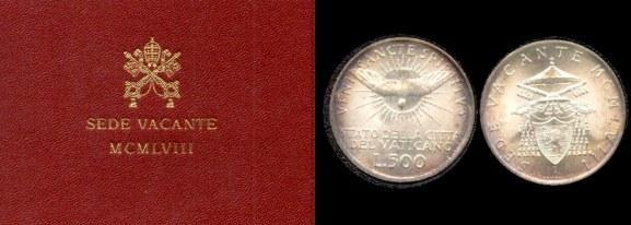 1958 Vatican 500 Lire Sede Vacante w/Folder Photo