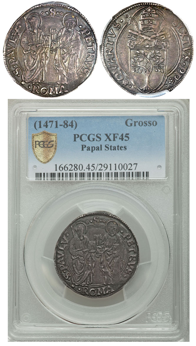 Sixtus IV (1471-84) Grosso PCGS XF45 Photo