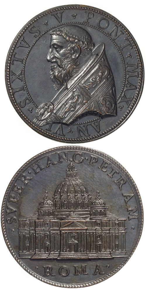 Sixtus V (1585-90) St. Peter's Basilica Medal Photo