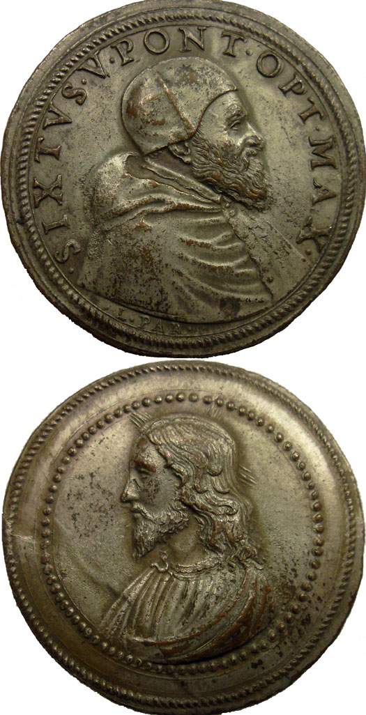 Sixtus V (1585-90) Bust of Christ Papal Medal Photo