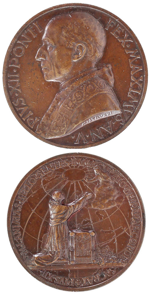 Pius XII (1939-58) Anno V Bronze Medal Photo