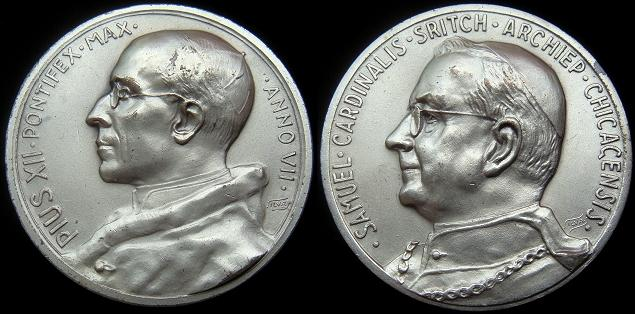 Pius XII 1946 Medal Cardinal Samuel Stritch Photo