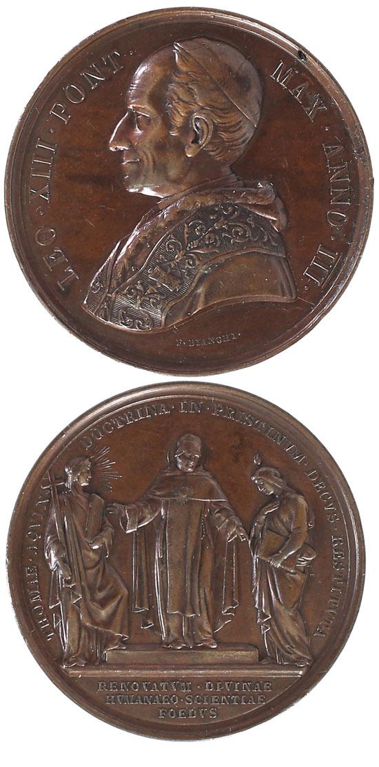 Leo XIII 1880 Bronze St. Thomas Aquinas Photo