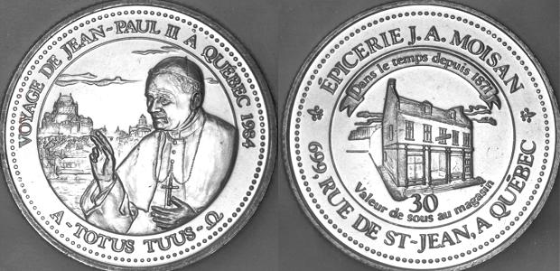 1984 John Paul II Quebec Trip Token J.A. Moisan Photo