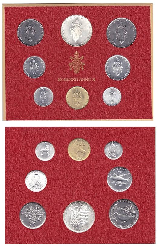 1972 Vatican Mint Set, 8 Coins BU Photo