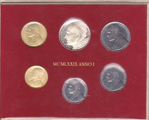 1979 Vatican Mint Set, 6 Coins BU Photo