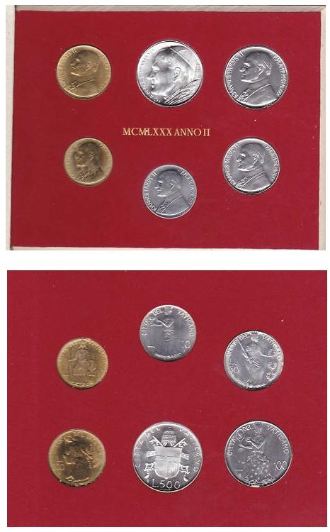 1980 Vatican Mint Coin Set, 6 Coins Photo