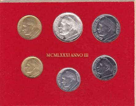 1981 Vatican Mint Coin Set, 6 Coins BU Photo