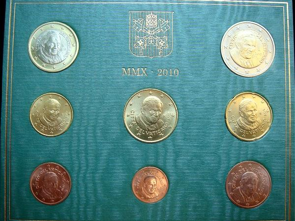 2010 Vatican Mint Set, 8 Euro Coins BU Photo