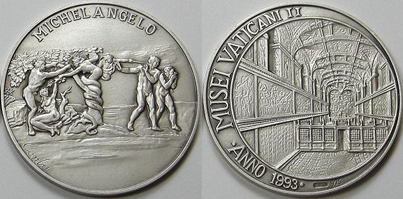 Vatican Museum Medal Ar 1993 Original Sin Photo