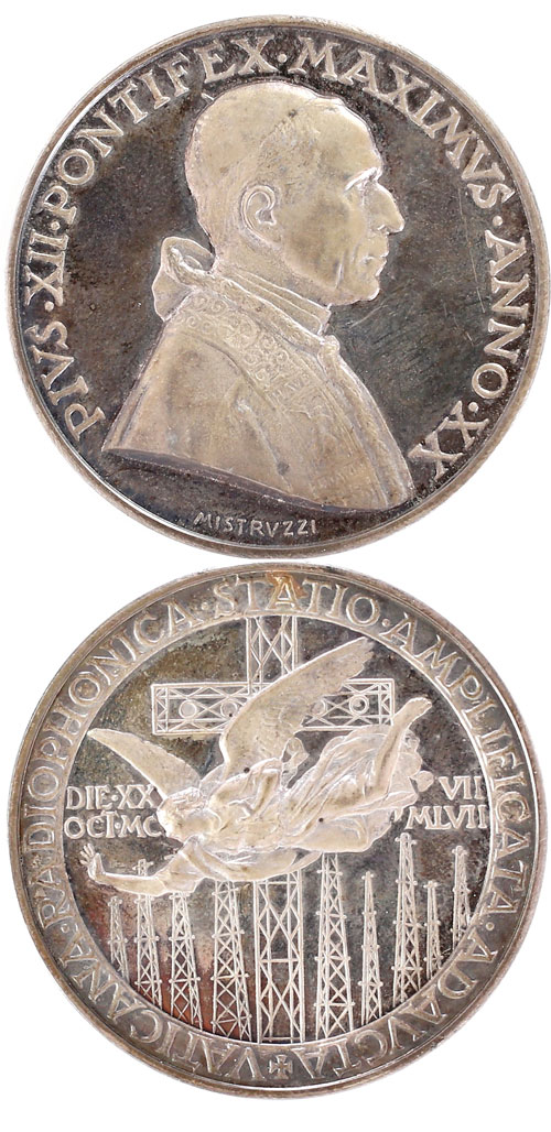 Pius XII (1939-58) Anno XX Vatican Radio Medal Photo