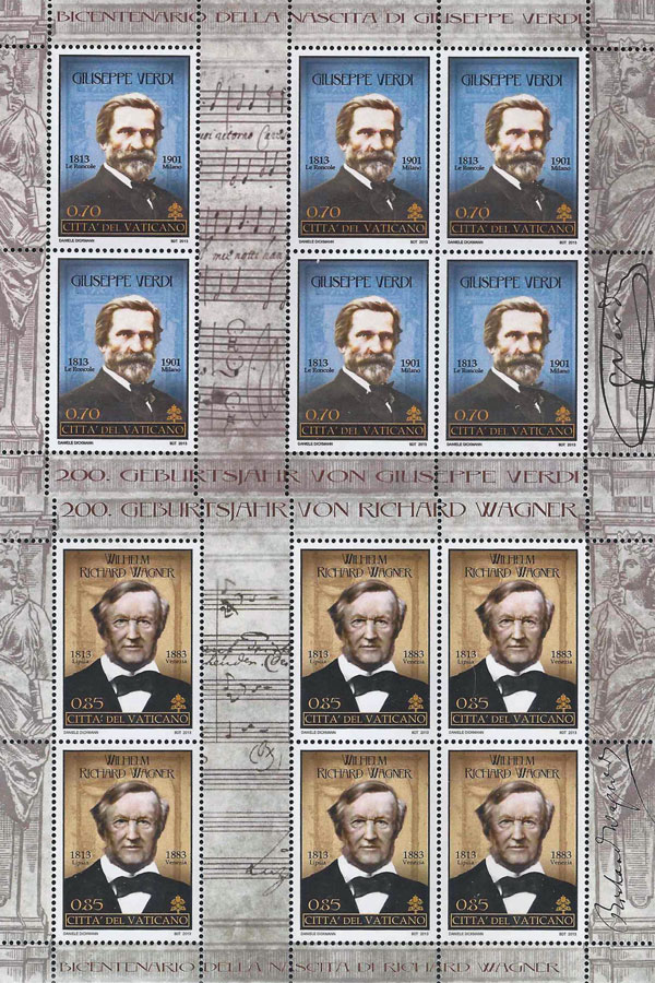 2013 Vatican Stamps Births of Verdi and Wagner Photo
