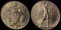 1931 Vatican 50 Centesimi Archangel Michael Coin Thumbnail