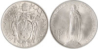1936 Vatican 1 Lira VIRGIN MARY Coin Thumbnail