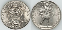 1936 Vatican 50 Centesimi Archangel Michael Coin Thumbnail