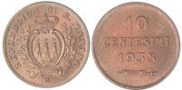 1938 San Marino 10 Centesimi Coin BU Thumbnail