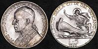 1939 Vatican 5 Lire Silver Coin ST. PETER Thumbnail