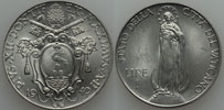 1940 Vatican 1 Lira VIRGIN MARY Coin Thumbnail