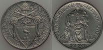 1944 Vatican 20 Centesimi Justice Coin UNC Thumbnail