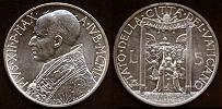 1950 Vatican 5 Lire Coin HOLY YEAR Thumbnail