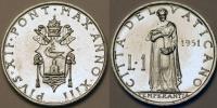 1951 Vatican 1 Lira Coin TEMPERANCE Thumbnail