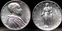 1953 Vatican 5 Lire Coin JUSTICE Thumbnail
