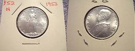 1953 Vatican City 10 Lire Coin Thumbnail