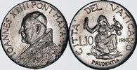 1960 Vatican 10 Lire PRUDENCE Coin Thumbnail