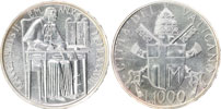 1988 Vatican 1000 Lire Silver Coin B/U Thumbnail