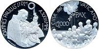2001 Vatican 2000 Lire Silver Proof Coin Thumbnail