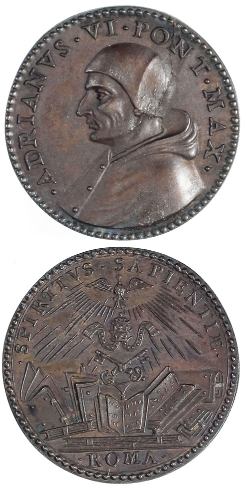 Adrian VI (1522-3) Bronze Papal Medal Photo