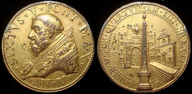 Sixtus V 1589 Papal Medal, Piazza del Popolo Photo