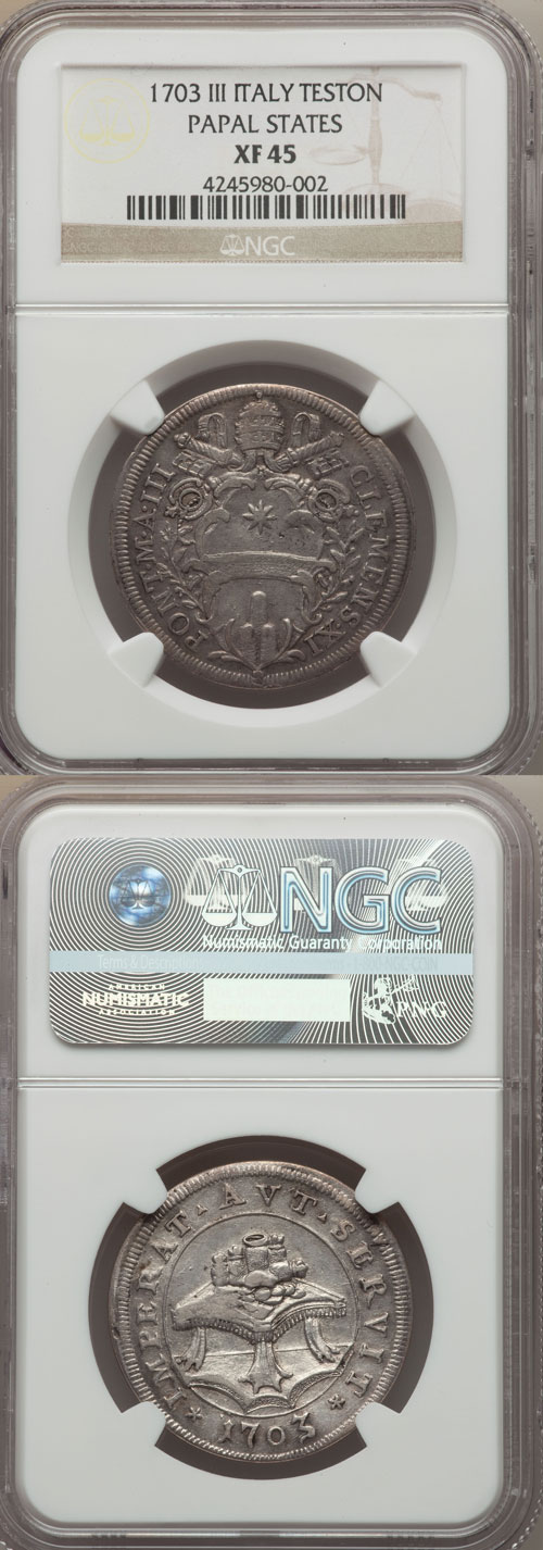 Clement XI 1703 Testone NGC XF45 Photo