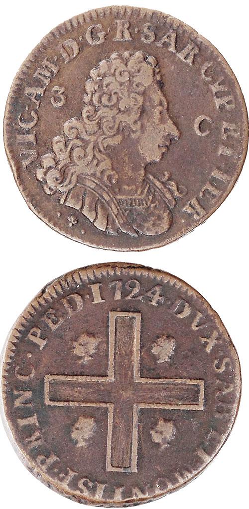 1724 Italy-Sardinia 3 Cagliaresi VF Photo