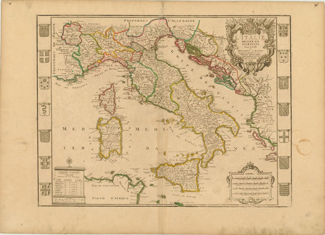 1729 Map of Italy L'Italie Divisee en ses Estats Photo